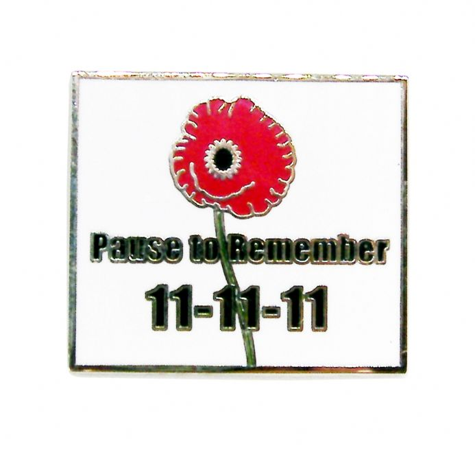 "Poppy  Lapel Badge ""Pause to Remember"""
